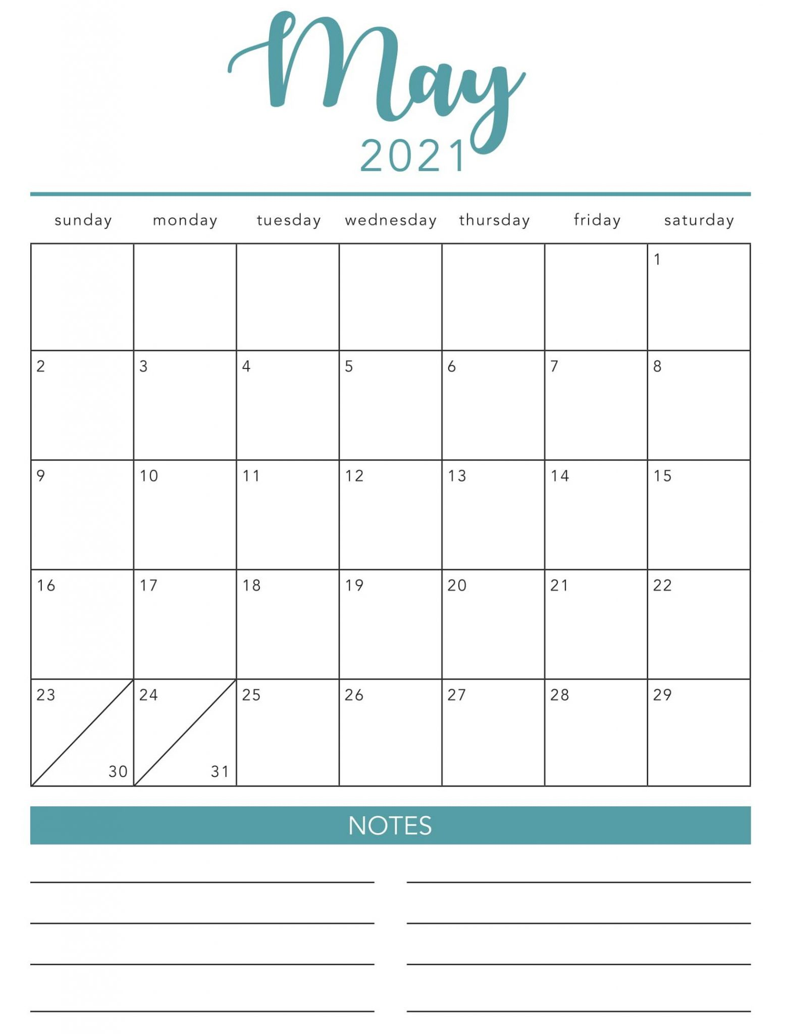 Fillable Calendar May 2021 with Notes
