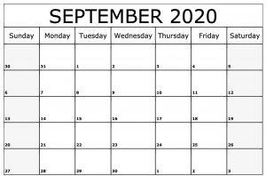 Free Blank September Calendar 2020 Template
