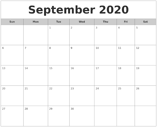 Free September 2020 Calendar Download