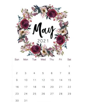 May 2021 Waterproof Calendar
