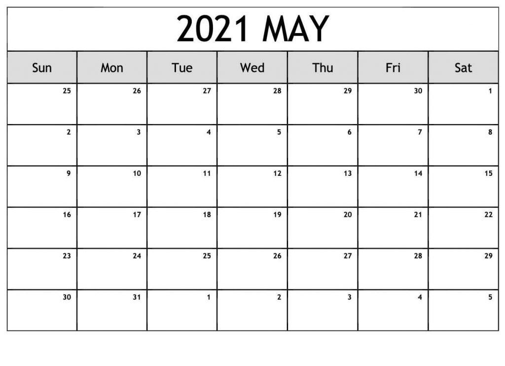 May Calendar Printable 2021 Template