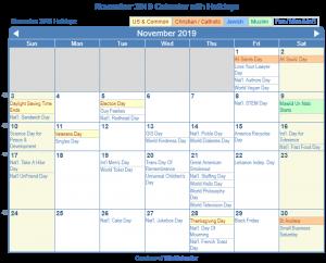 November 2019 Printable Calendar with US Holidays