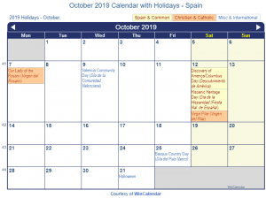 October 2019 CalendarSpain