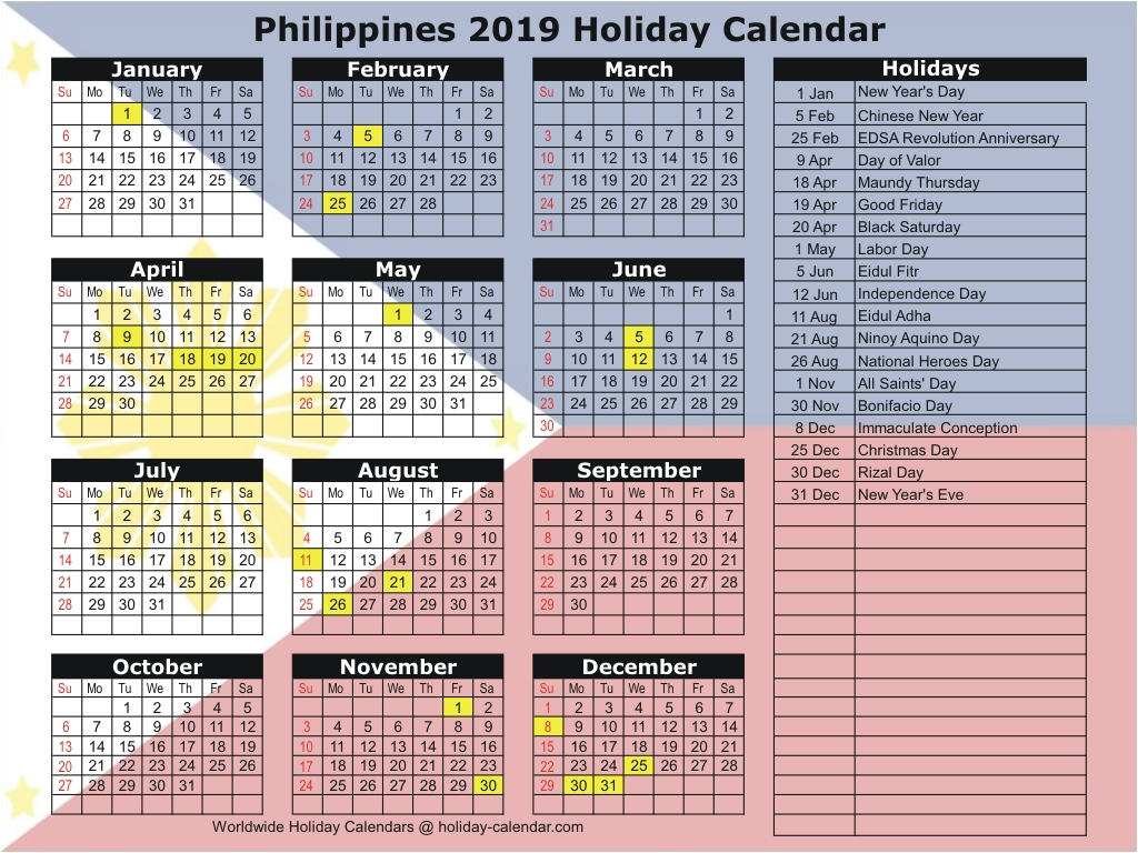 October Calendar 2019 Philippines
