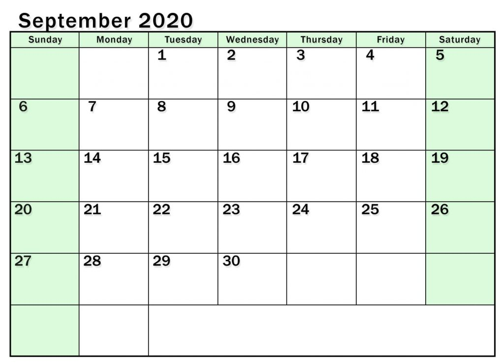 Print Calendar For September 2020 Month