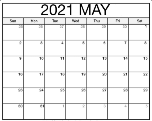 Printable Blank Calendar May 2021