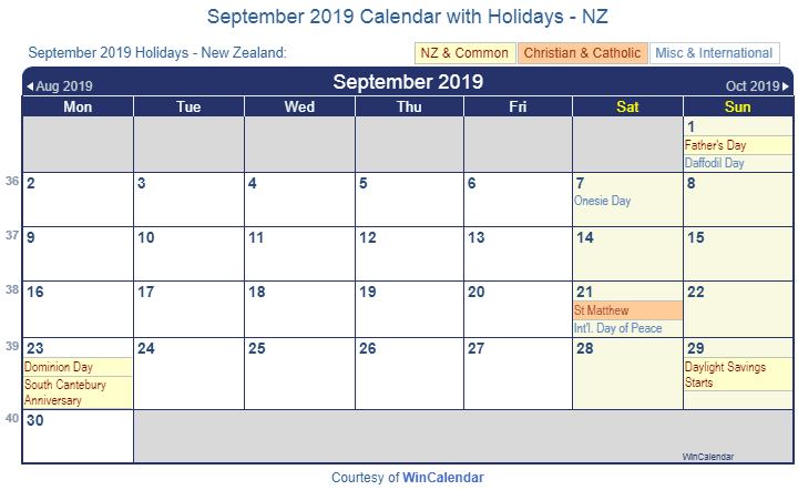 September 2019 Calendar with NZ Holidays