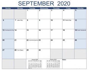 September 2020 Calendar Holidays