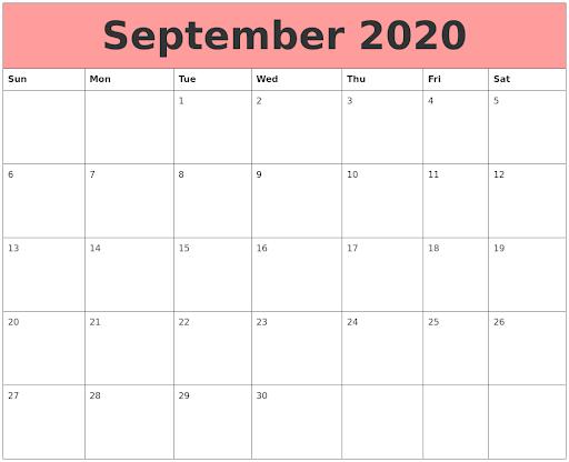 September 2020 Calendar Red