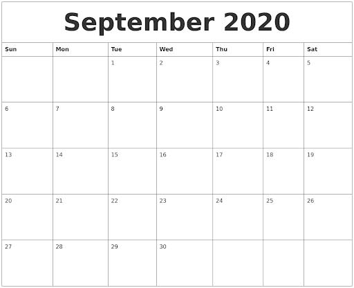 September 2020 Calendar Word