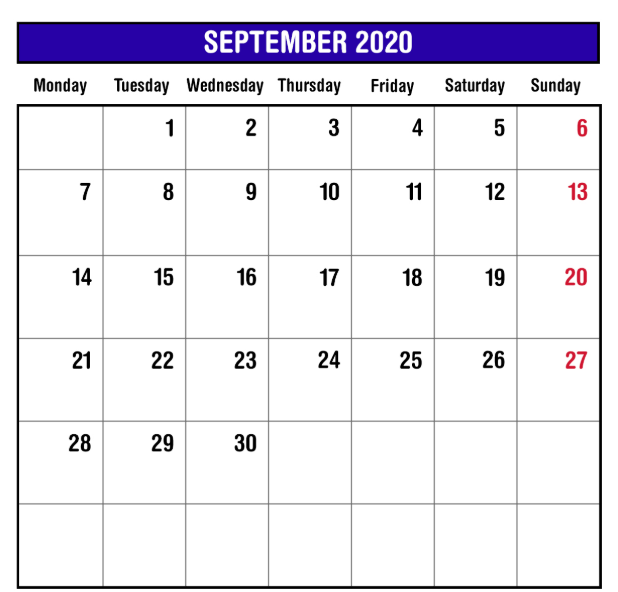 September 2020 Monthly Calendar