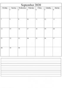 September Blank Calendar 2020
