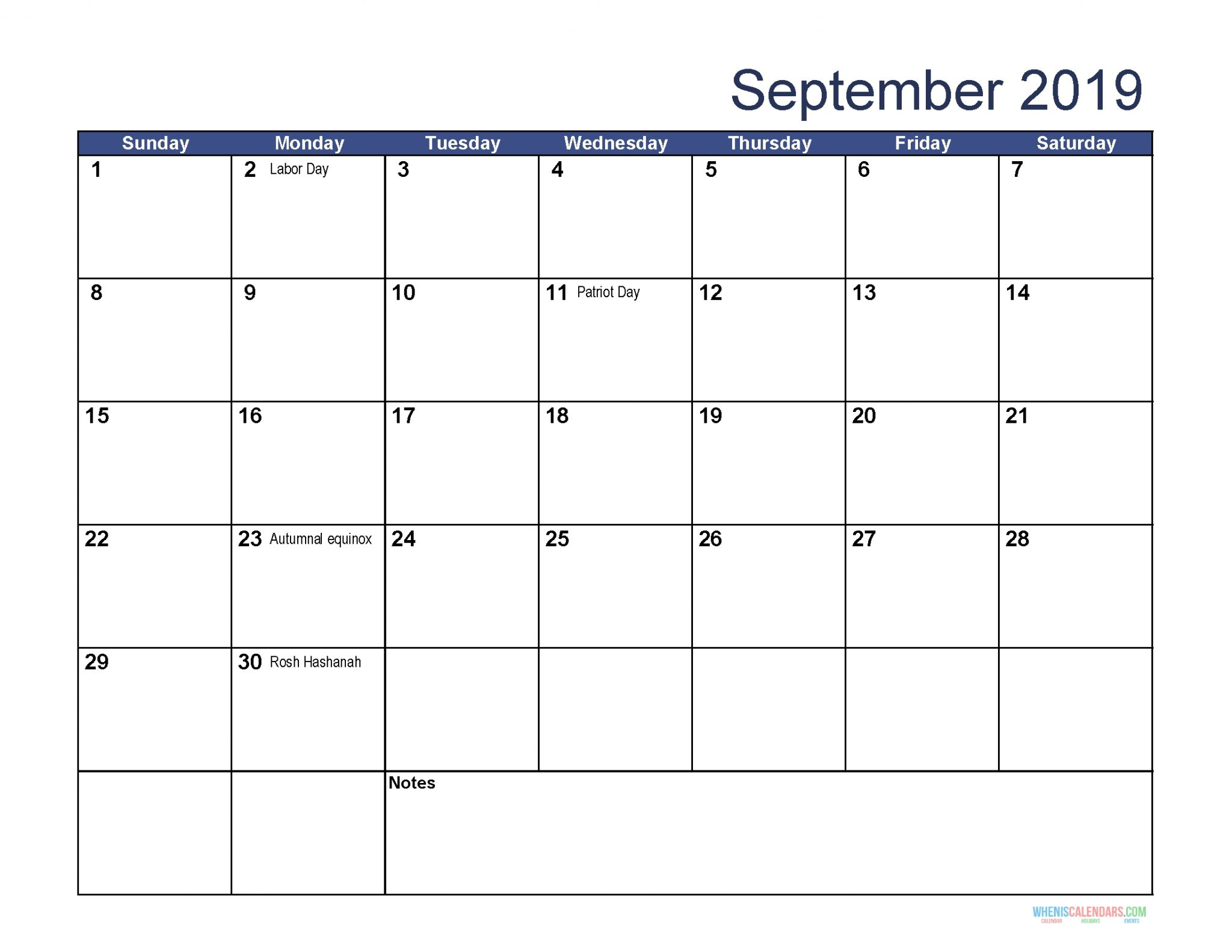 September 2019 Calendar With Holidays Template