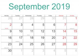 September Holidays 2019 Calendar
