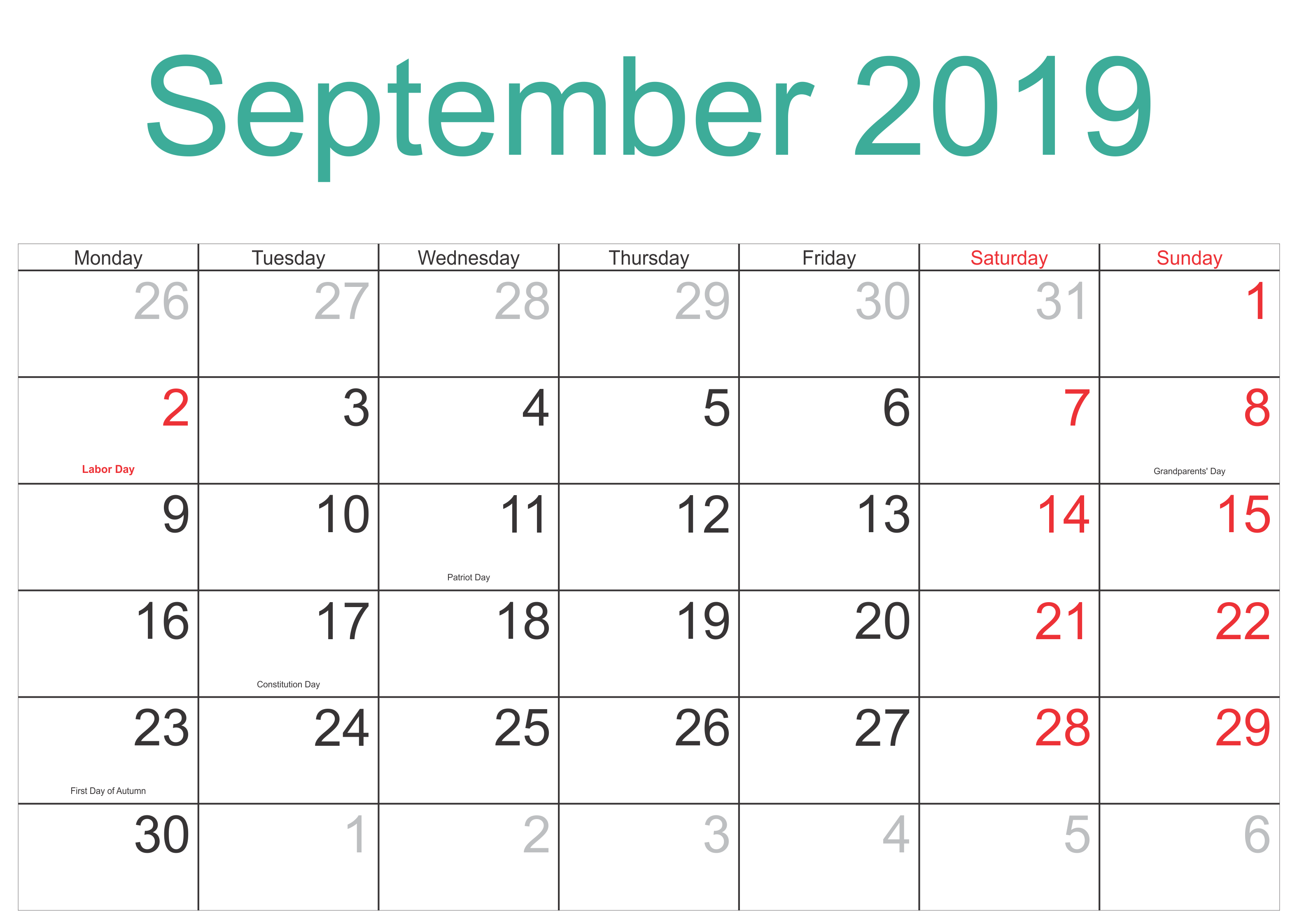September Holidays 2019 Calendar