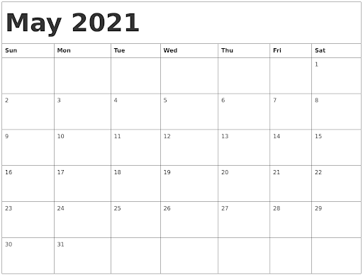 blank calendar may 2021