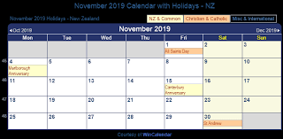 november 2019 holidays New Zeland