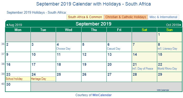 september 2019 calendar holidays SA
