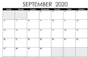 september 2020 calendar excel