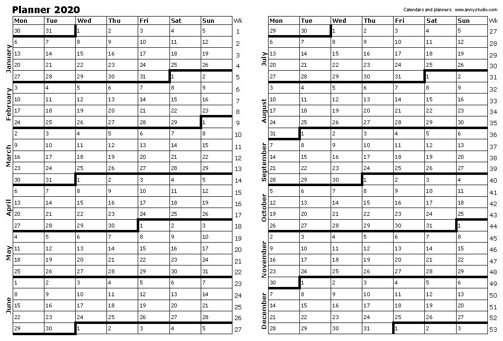 2020 Year Planner Printable