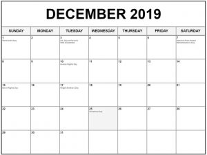 Calendar With Holidays December 2019