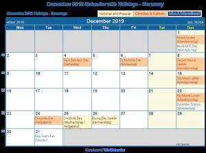 December 2019 Calendar with Holidays germany