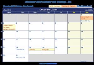 December 2019 Calendar with Holidays nz
