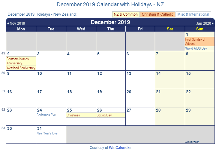 December 2019 Calendar with Holidays nz