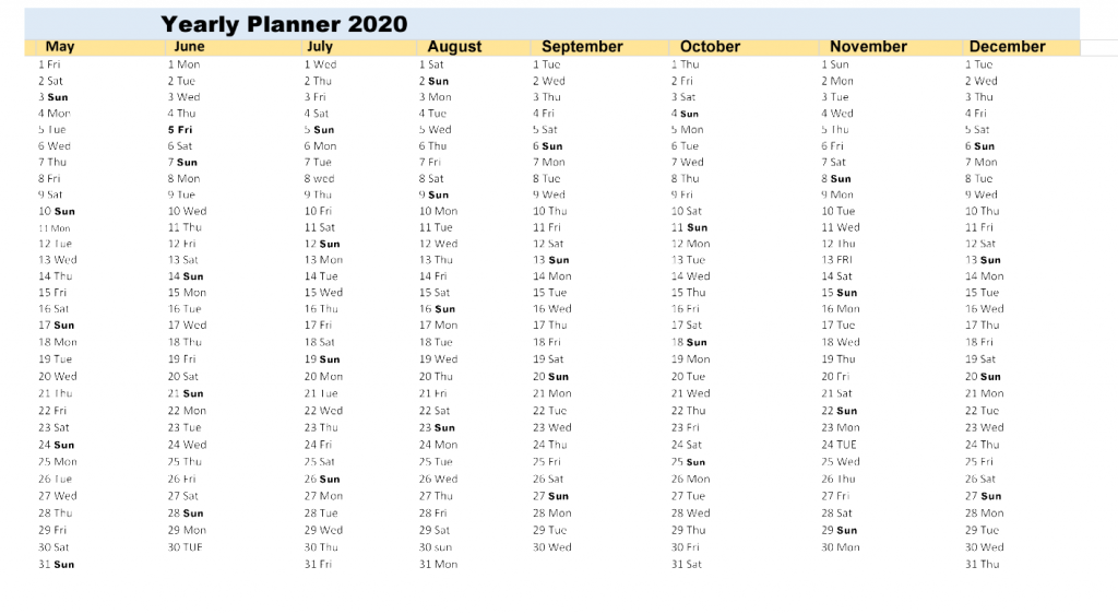Download Yearly Planner Excel 2020
