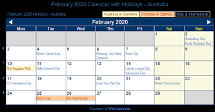 February 2020 Calendar with Holidays Australia