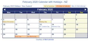 February 2020 Holidays New Zealand