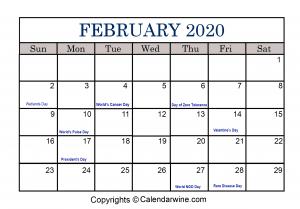 February Calendar 2020 with Holidays