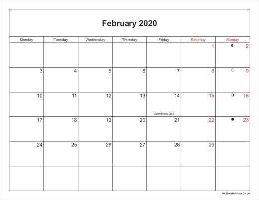 February Holidays 2020 UK