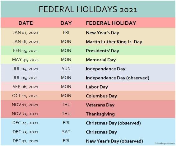 Federal 2021 calendar with holidays list