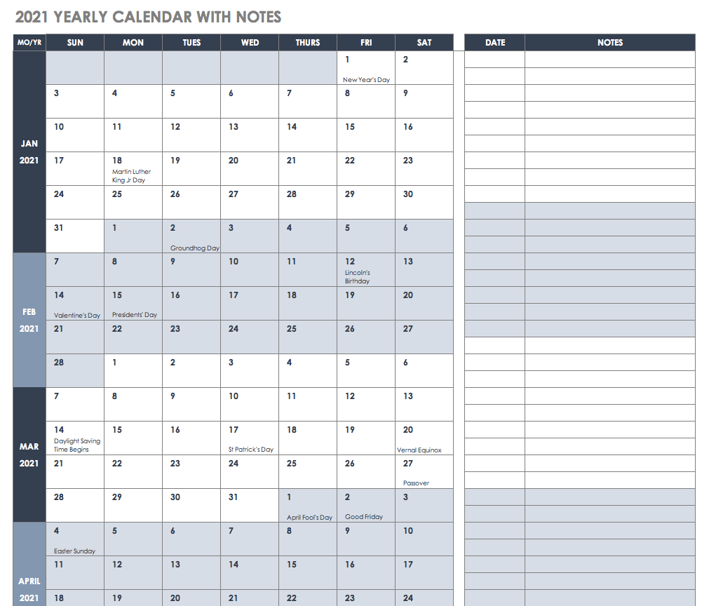 Free 2021 Year Planner Templates