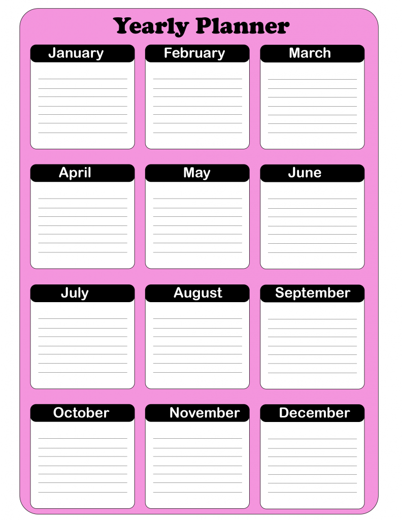 Free Yearly Planner Template 2020