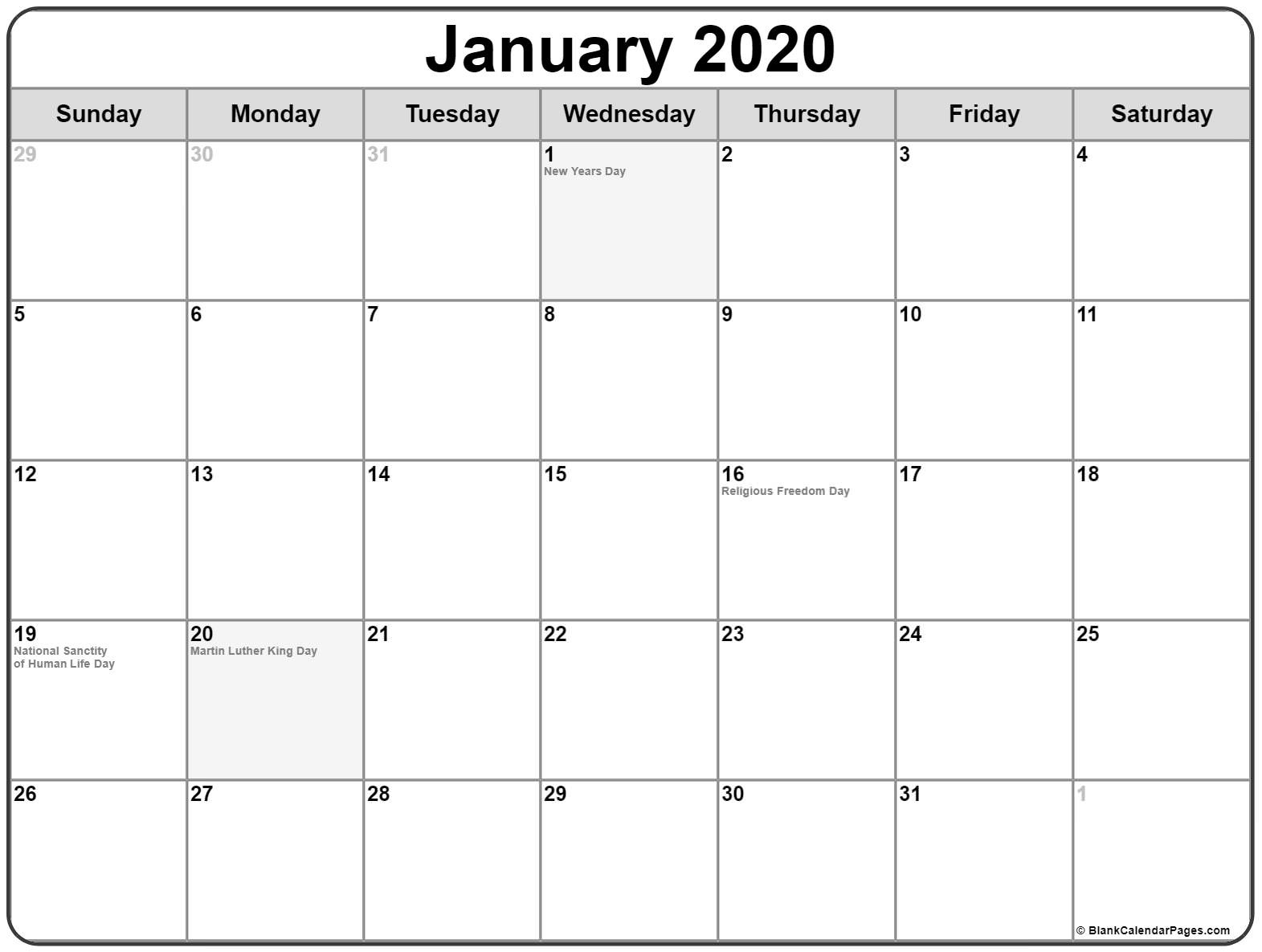 Events Usa January 2020.January Holidays 2020 January 2020 Calendar With Festival