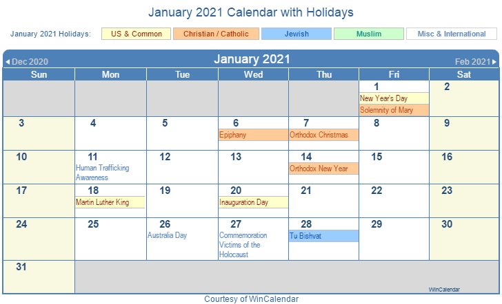 January 2021 Calendar with Holidays United States