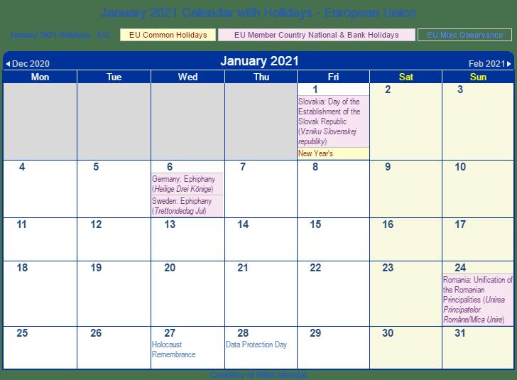 January 2021 EU Calendar with Holidays