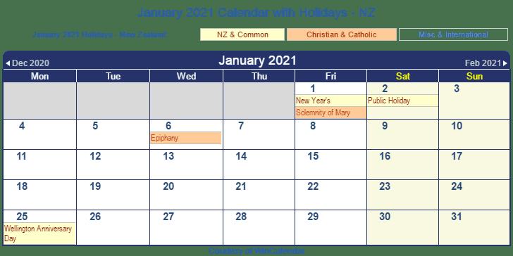 January 2021 New Zealand Calendar