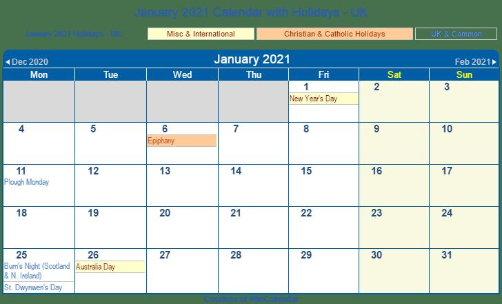 January 2021 UK Calendar Holidays