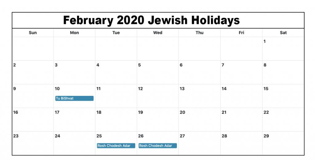 Jewish Holidays February 2020 Calendar