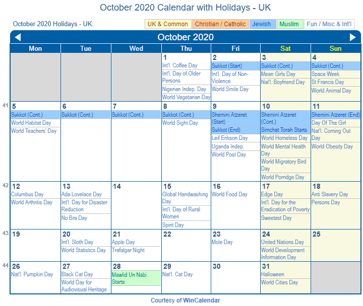 October 2020 UK Calendar Holidays