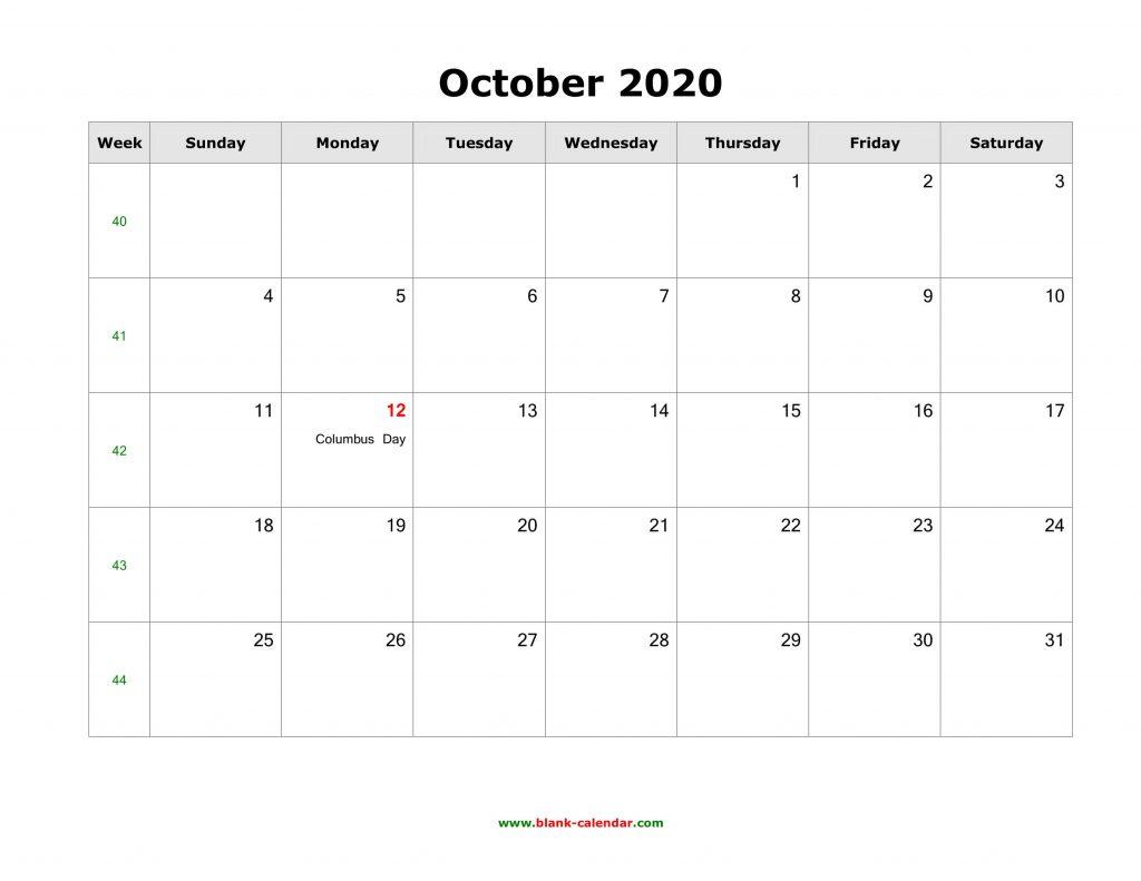 October 2020 US Calendar Holidays