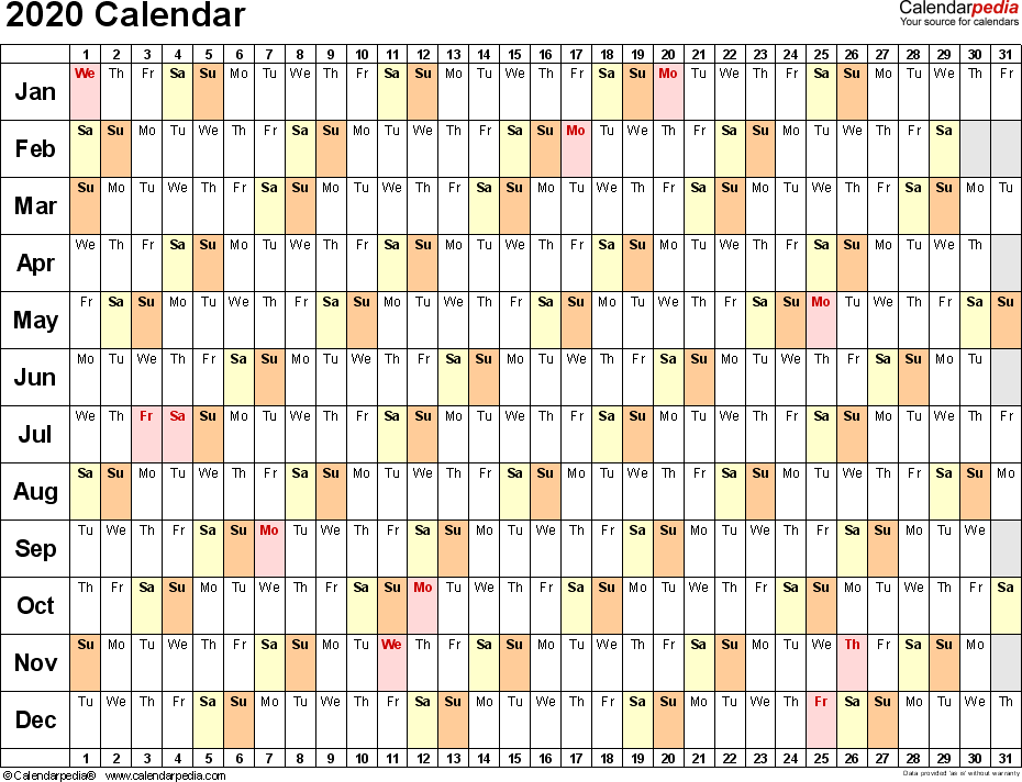 Printable 2020 Yearly Planner Template