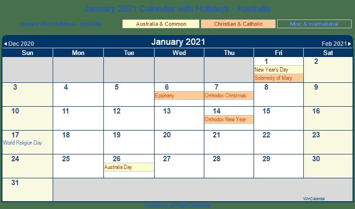 january 2021 calendar with holidays australia