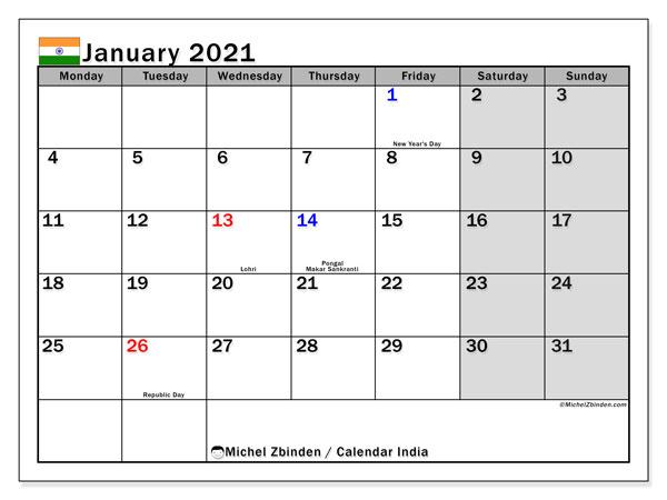 january 2021 calendar with holidays india