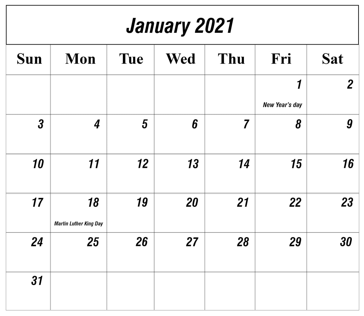january 2021 calendar with holidays singapore