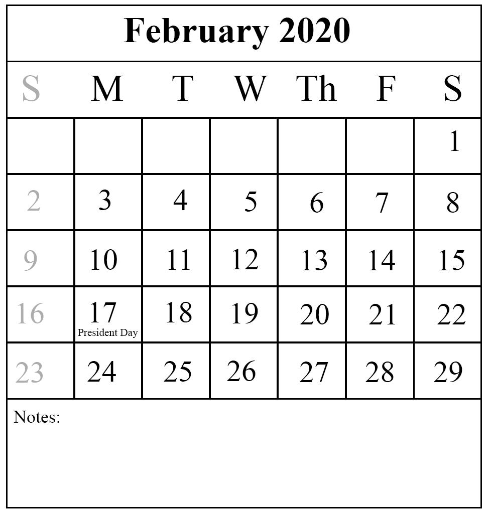 Blank Calendar February 2020 Notes