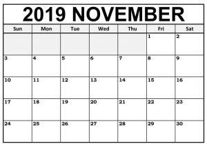 Blank Calendar For November 2019
